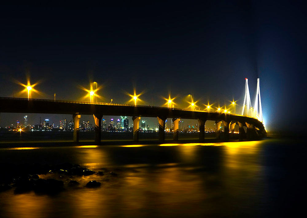 Bandra-Worli bridge and embankment in Mumbai lighting concept, India