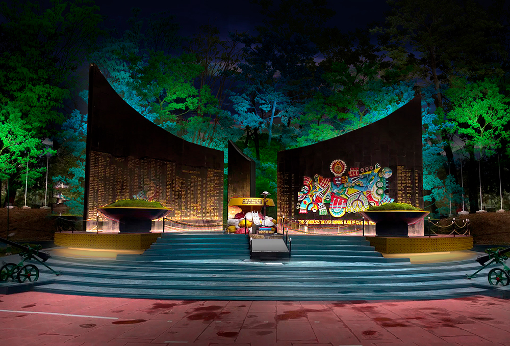 Dharamshala memorial lighting concept, India